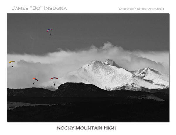 Skydiver Photograph - Rocky Mountain High Poster Print by James BO Insogna