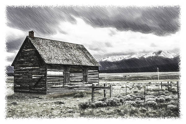 Homestead Drawing - Rocky Mountain Past by John Haldane