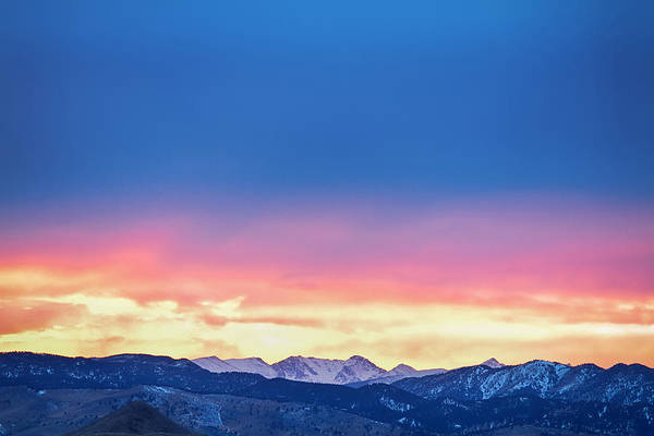Photograph - Rocky Mountain Sunset Clouds Burning Layers by James BO Insogna