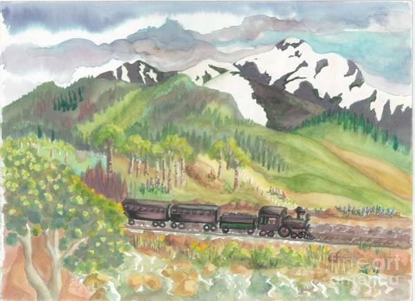 Model Trains Painting - Rocky Mountain Train by Lynn Maverick Denzer