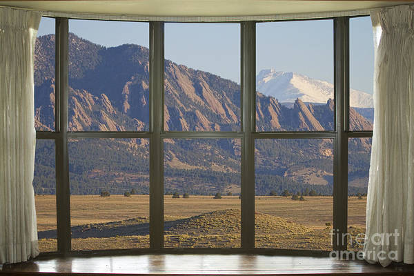 Photograph - Rocky Mountains Flatirons With Snow Longs Peak Bay Window View by James BO Insogna