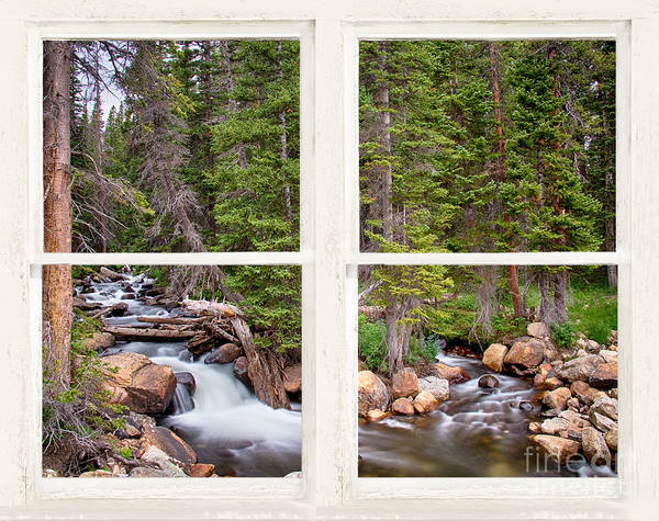 Wall Art - Photograph - Rocky Mountains Forest Stream Rustic White Washed Window by James BO Insogna