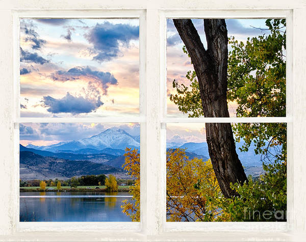 Photograph - Rocky Mountains Lake Autumn Rustic White Washed Window View by James BO Insogna