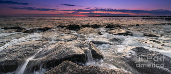 Southern Rock Photograph - Rocky Sunset At Cape May 16x9 by Michael Ver Sprill