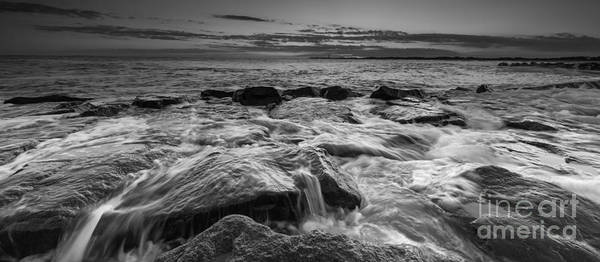Southern Rock Photograph - Rocky Sunset At Cape May Bw 16x9 by Michael Ver Sprill
