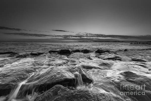 Southern Rock Photograph - Rocky Sunset At Cape May Bw by Michael Ver Sprill