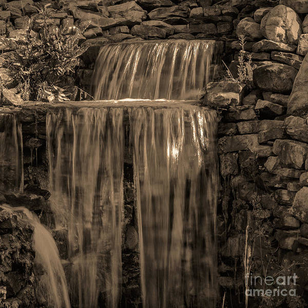 Photograph - Rocky Waterfall Black And White by Michael Waters