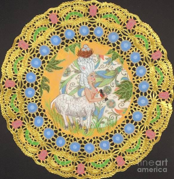 Baroque Mixed Media - Rococo Sheep Girl by Juliana Brandon