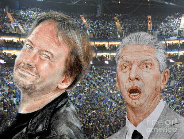 Pro Wrestler Wall Art - Drawing - Roddy Piper And Vince Mcmahon  by Jim Fitzpatrick