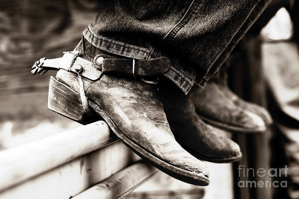 Photograph - Rodeo Boots And Spurs In Black And White by Lincoln Rogers