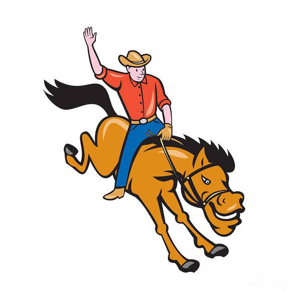 Bucking Bronco Digital Art - Rodeo Cowboy Riding Bucking Bronco Cartoon by Aloysius Patrimonio
