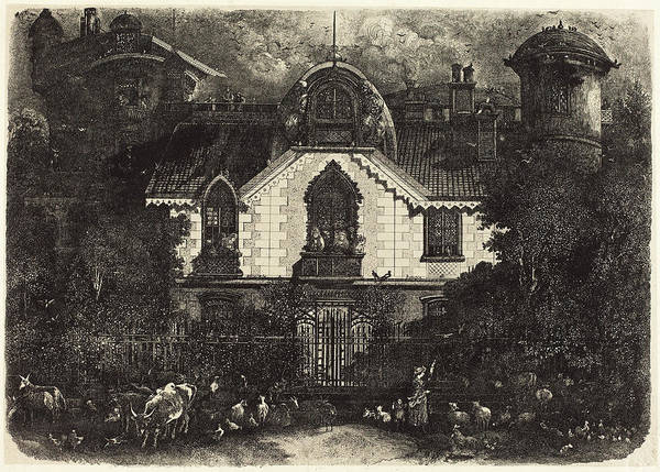 Haunted House Drawing - Rodolphe Bresdin French, 1822 - 1885, The Haunted House by Quint Lox
