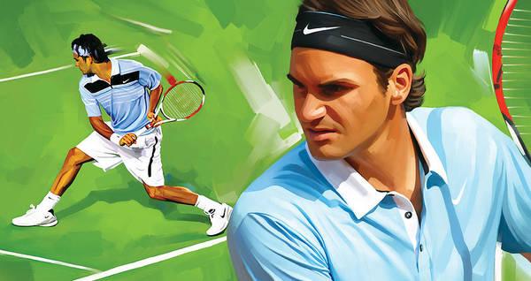 Wall Art - Painting - Roger Federer Artwork by Sheraz A