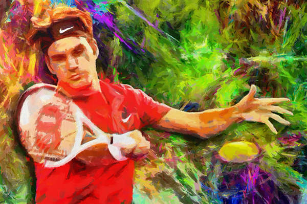 Splash Digital Art - Roger Federer by RochVanh