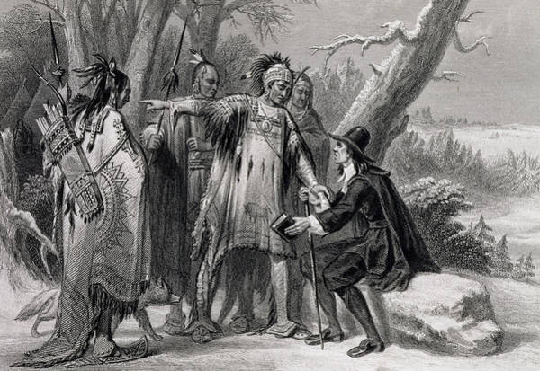 Arrow Drawing - Roger Williams Sheltered By The Narragansetts by James Charles Armytage