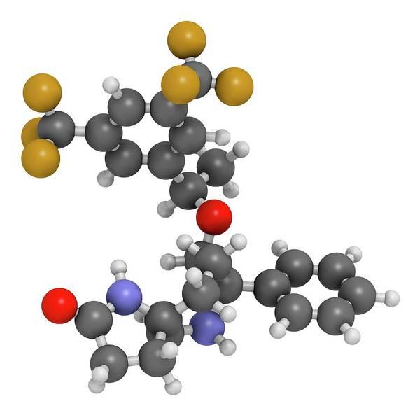 Molecular Wall Art - Photograph - Rolapitant Antiemetic Drug Molecule by Molekuul/science Photo Library