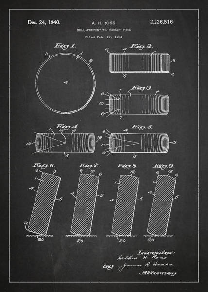 Exclusive Rights Wall Art - Digital Art - Roll Prevention Hockey Puck Patent Drawing From 1940 by Aged Pixel