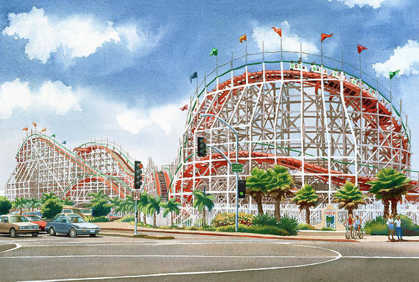 Mission Wall Art - Painting - Roller Coaster Mission Beach by Mary Helmreich