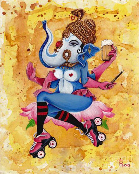 Ganesh Painting - Roller Derby Ganesh by Tia Harper