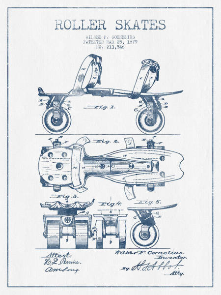 Blades Digital Art - Roller Skate Patent Drawing From 1879  - Blue Ink by Aged Pixel