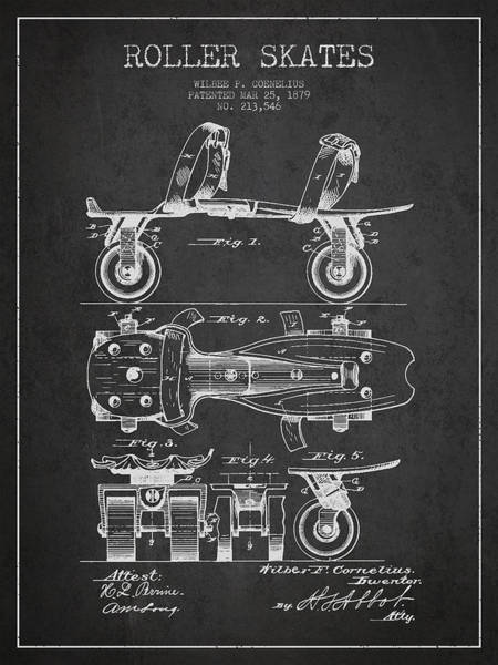 Blades Digital Art - Roller Skate Patent Drawing From 1879 - Dark by Aged Pixel