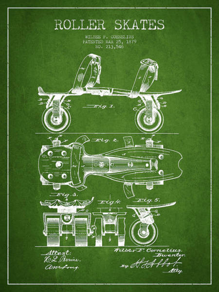 Blades Digital Art - Roller Skate Patent Drawing From 1879 - Green by Aged Pixel