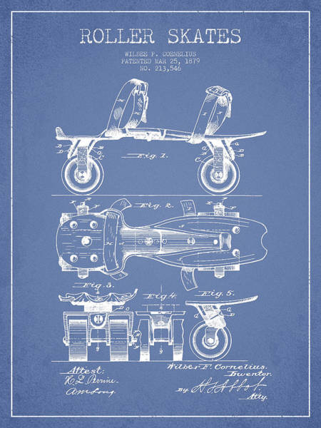 Blades Digital Art - Roller Skate Patent Drawing From 1879 - Light Blue by Aged Pixel