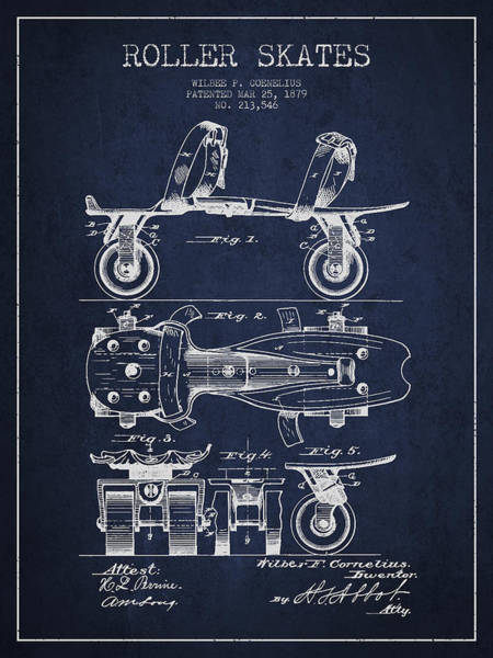 Blades Digital Art - Roller Skate Patent Drawing From 1879 - Navy Blue by Aged Pixel