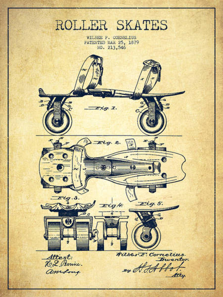 Blades Digital Art - Roller Skate Patent Drawing From 1879 - Vintage by Aged Pixel