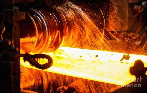Steel Beams Wall Art - Photograph - Rolling A Rail At A Steel Mill by Ria Novosti