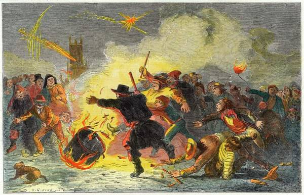 Fireworks Drawing - Rolling A Tar Barrel On 5 November by Mary Evans Picture Library