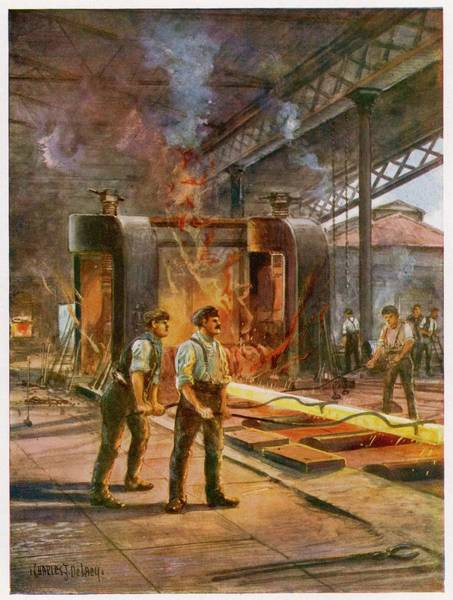 Steel Drawing - Rolling Steel In A British  Steelworks by Mary Evans Picture Library