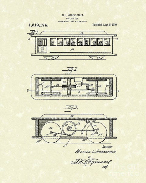 Wall Art - Drawing - Rolling Toy 1919 Patent Art by Prior Art Design