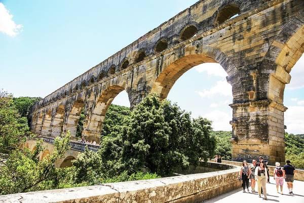Psi Photograph - Roman Aqueduct Gardon River by Photostock-israel