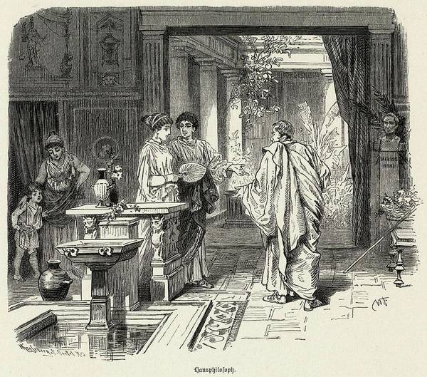 Villa Drawing - Roman Family Strolling In  The Atrium by Mary Evans Picture Library