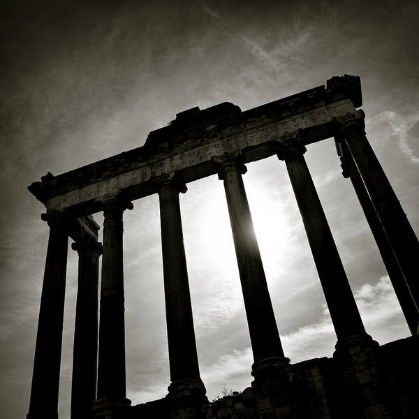 Mono Photograph - Roman Forum by Dave Bowman