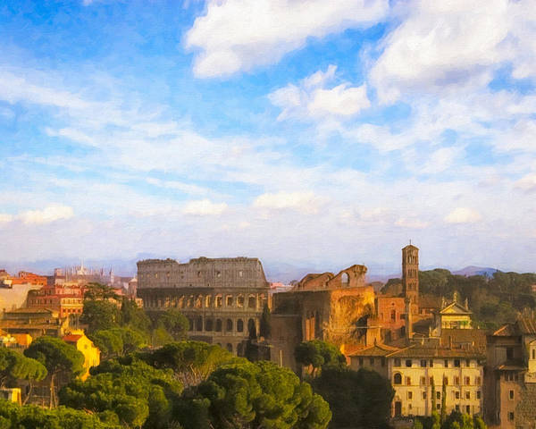 Photograph - Roman Skyline On A Beautiful Afternoon by Mark E Tisdale