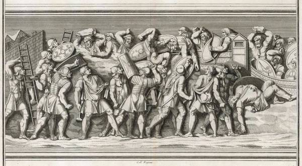 Roman Soldier Drawing - Roman Soldiers Attack A German  Town - by Mary Evans Picture Library