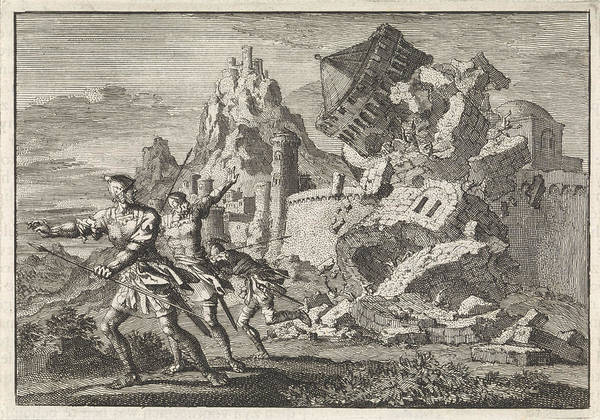 Roman Soldier Drawing - Roman Soldiers Make A Tower On The Wall Of Gamala Collapse by Jan Luyken And Pieter Mortier