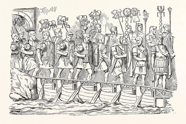 Roman Soldier Drawing - Roman Soldiers Passing Over A Bridge Of Boats by English School