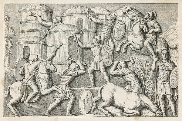Roman Soldier Drawing - Roman Soldiers Set Fire To  A Hostile by Mary Evans Picture Library