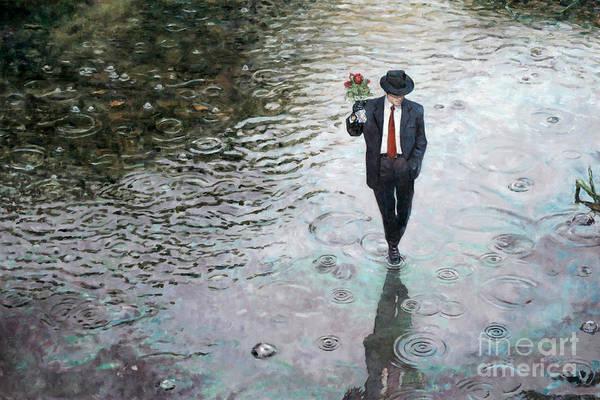 Walking In The Rain Wall Art - Painting - Romance Isn't Dead by Theo Michael