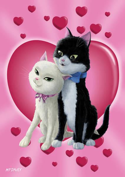 Wall Art - Digital Art - Romantic Cartoon Cats On Valentine Heart  by Martin Davey