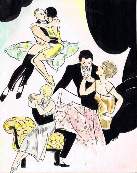 Nostalgia Drawing - Romantic Couples by Mel Thompson
