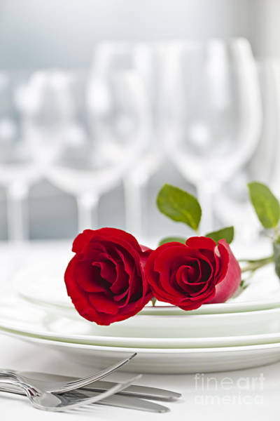 White Rose Photograph - Romantic Dinner Setting by Elena Elisseeva