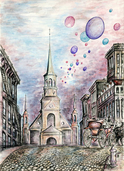 Drawing - Romantic Montreal Canada - Watercolor Pencil by Peter Potter