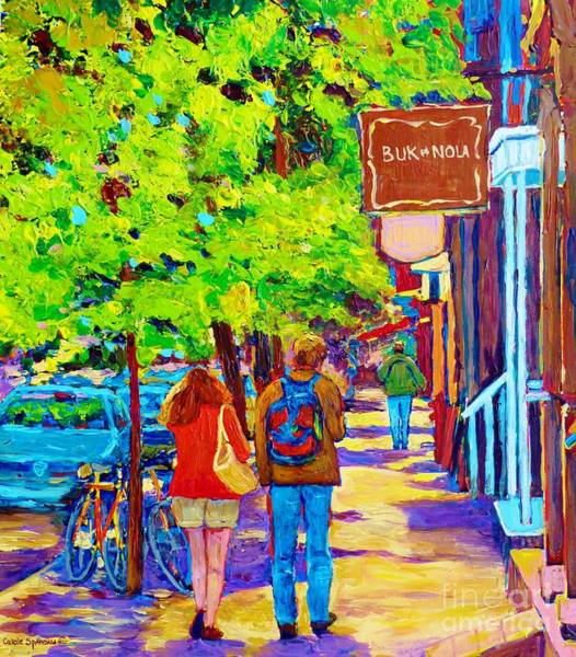 Painting - Romantic Stroll Along Rue Laurier Montreal Street Scenes Paintings Carole Spandau by Carole Spandau