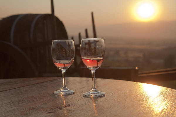 Romantic Sunset With A Glass Of Wine Art Print
