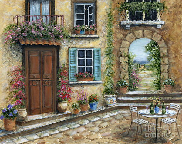 Wall Art - Painting - Romantic Tuscan Courtyard by Marilyn Dunlap