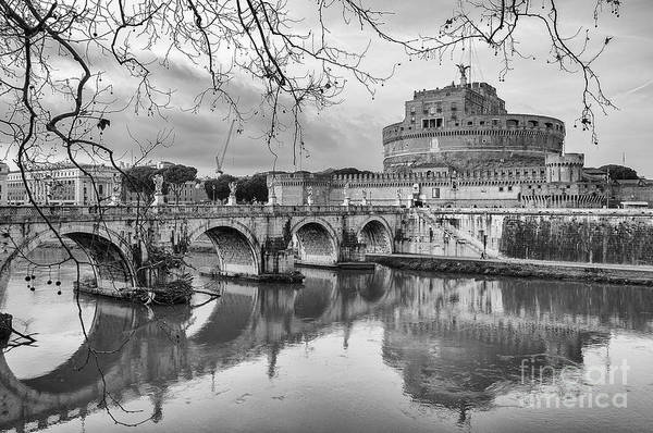 Roman Fort Photograph - Rome Castel Sant Angelo Black And White by Antony McAulay
